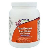 Лецитин подсолнечный, Sunflower Lecithin, Now Foods, Pure Powder, 1 lb (454 g)