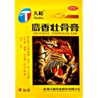 Мускусный противоотечный пластырь Шесян Чжуангу Гао, 4 пластины